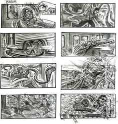 This storyboard is from the second Tobey McGuire Spiderman movie. I like how no words are needed to show that the fight was incredibly violent between Doctor Octopus and Spiderman. Storyboard Film, Storyboard Examples, Storyboard Template, Storyboard Artist, Storyboard Drawing, Animation Storyboard, Beau Film, Spider Man 2, Famous Movies