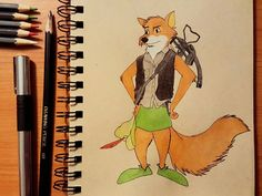 Disney meets The Walking Dead. Robin Hood and Daryl Dixon mash-up. Drawn with pen, colored pencil, and charcoal pencil.