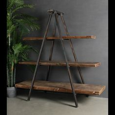 Industrial Vintage Style Tripod Iron AND Timber Book Case | eBay