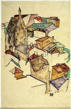 classprotector:egonschiele: Egon Schiele, Landscape Rooftops (via griffinlb) Gustav Klimt, Landscape Art, Landscape Paintings, Ireland Landscape, Landscapes, Egon Schiele Landscape, Urban Sketching, Art Graphique, Painting & Drawing