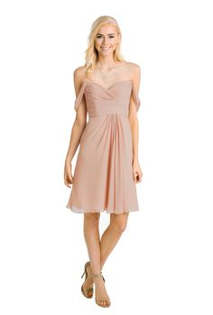 Watters 'Mahogany Dress' in Buff. The Mahogany in chiffon by Watters gives any body type a graceful silhouette. The cap sleeves and sweetheart neckline add the perfect elegant touch. Discover more bridesmaid dresses to rent at vowtobechic.com