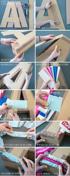 Discover thousands of images about Tutorial DIY Pompones de Papel de seda by Ninomaru Cardboard Letters, Diy Letters, Diy Cardboard, Unicorn Birthday Parties, Unicorn Party, Diy And Crafts, Paper Crafts, Ideas Para Fiestas, Partys