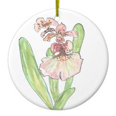 Red Orchid Circular Ornament from Original Watercolor Painting Christmas Holiday…