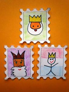 Postzegels koning knutselen