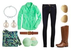 """""""Mint"""" by evelynisabelle ❤ liked on Polyvore featuring J Brand, Dickins & Jones, Vera Bradley, J.Crew, Tory Burch, Tiffany & Co., Forzieri, Eos, Ray-Ban and women's clothing"""