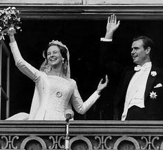 Queen Margrethe of Denmark and her husband Count Henri de Laborde de Monpezat.  Henri adopted the Danish version of his name, Henrik, and was made a prince of Denmark in advance of the wedding.