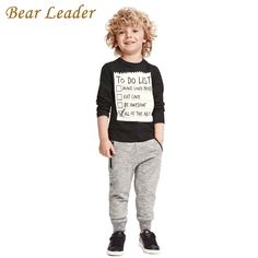 Bear Leader Baby boy clothes 2016 New Winter and Autumn Dark Grey long sleeve t-shirt + casual long pants 2pc suit kids clothes #>=#>=#>=#>=#> Click on the pin to check out discount price, color, size, shipping, etc. Save and like it!