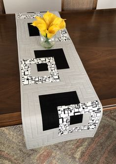 Modern Quilted Table Runner, Black White and Grey Wallhanging, Reversible Tablerunner, Modern Table Decor, Modern Quilted Table Runner by FabriArts on Etsy Modern Table Runners, Quilted Table Runners, Invisible Stitch, Casual Decor, Fabric Postcards, Table Runner Pattern, Table Toppers, Table Linens, Modern Decor