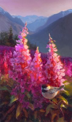 Alaska Art Painting - Eagle River Summer Chickadee And Fireweed Alaskan Landscape by Karen Whitworth Flower Painting Images, Flower Painting Canvas, Flower Artwork, Abstract Flowers, Flower Paintings, Types Of Painting, Botanical Art, Landscape Paintings, Landscape Art