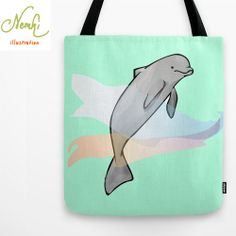 Dolphin Illustrated Tote Bag by nemki on Etsy, £19.01