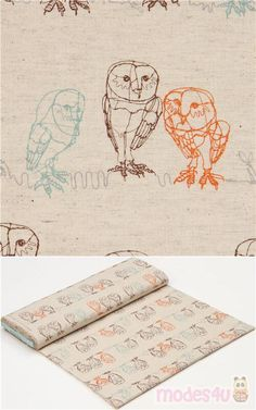 "natural color canvas fabric with owls in a hand drawn style, Material: 85% cotton, 15% linen, Fabric Type: smooth canvas fabric, Pattern Repeat: ca. 29.5cm (11.6"") #Canvas #Animals #AnimalPrint #Dogs #JapaneseFabrics"