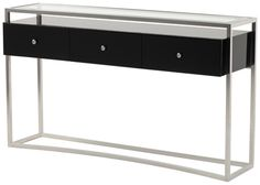 Striata Console Table With Drawers -Polished stainless steel with gloss black lacquer three drawer unit and clear glass inset top.