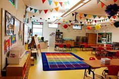 colorful garland in an art classroom elementary art education setting up the room design decor We've collected lots of great classroom prep tips, from school supply ideas to classroom layout and decorations to making students feel at home. Education Quotes For Teachers, Education College, Elementary Education, Elementary Art, Art Education, Classroom Setting, Classroom Design, Future Classroom, Preschool Classroom Layout