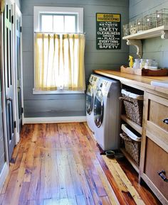 Love this laundry room! Blue painted shiplap, shelf with old brackets, built in laundry baskets Laundry Room Storage, Laundry Room Design, Laundry Baskets, Laundry Rooms, Laundry Room Curtains, Small Laundry, Renovation Parquet, Painting Shiplap, Laundry Room Inspiration