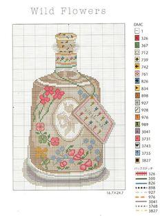 point de croix bouteille de parfum - cross-stitch perfume bottle