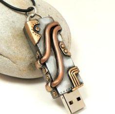 Steampunk Flashdrive 8GB USB Handmade Pendant by DesertRubble