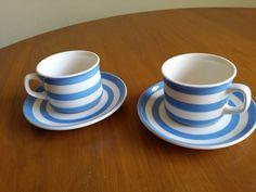 Original CORNISHWARE  Cup & Saucer x 2 TG Green Cornish blue Stripes Cloverleaf