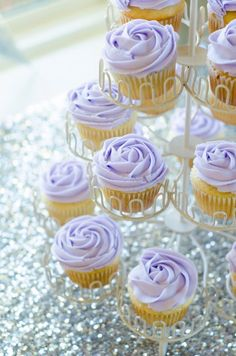 Purple Silver Bridal Shower Dessert Table Decorations Lavender