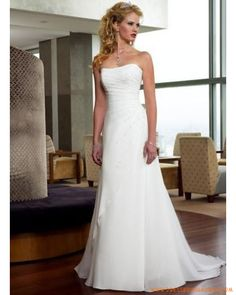 Simple A-line Beaded Lace up Back Cheap Beach Wedding Dress 2013