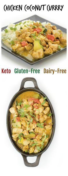 CHICKEN COCONUT CURRY: Easy, healthy, veggie filled dinner that takes about 30 minutes. Family will love this one! Dairy Free Recipes, Keto Recipes, Healthy Recipes, Gluten Free, Healthy Eats, Duck Recipes, Turkey Recipes, Delicious Recipes, Low Carb Dinner Recipes