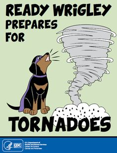 Teach kids about tornados and what to do if one occurs.  CDC's Ready Wrigley activity books are a fun resource for kids to learn about emergency preparedness.
