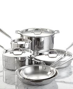 All-Clad Stainless Steel Cookware, 10 Piece Set - Cookware - Kitchen - Macys Bridal and Wedding Registry