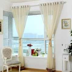 Beige sheer curtains are elegant. This sheer curtain is kinda light yellow. Striped patterns decorate this sheer curtain. I think you will have a good time accompany by this sheer curtain. Striped Curtains, Velvet Curtains, White Curtains, Drapes And Blinds, Types Of Curtains, Living Room Drapes, Beautiful Curtains, Custom Drapes, Curtain Patterns