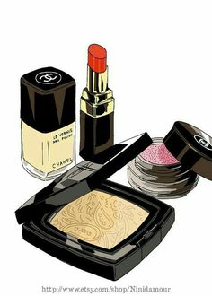 Chanel make up set. Chanel is my favourite brand and that's why I actually want to have all of there stuf! But you can't :( The Chanel make up is great and you look like a France girl when you wear it. Makeup Illustration, Beauty Illustration, Japanese Illustration, Makeup Drawing, Makeup Art, Mode Poster, Arte Fashion, Buttery Soft Leggings, Chanel Makeup
