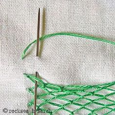 Embroidery stitch tutorials~fishnet stitch