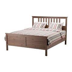 "HEMNES bed frame, gray-brown Length: 83 7/8 "" Width: 65 3/4 "" Footboard height: 26 3/4 "" Length: 213 cm Width: 167 cm Footboard height: 68 c..."