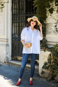 Go To Summer Outfit for chilly days - white button up blouse - red Gucci Jordaan Loafer - Fashionnes