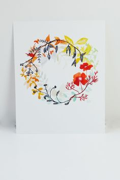 """The """"Happiness Wreath"""" print depicts plants, herbs, and colors that have…"""
