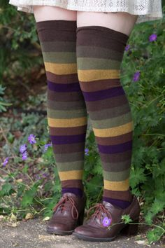 Extraordinary Elemental Stripes - Unique Sexy Colorful Socks - Sock Dreams
