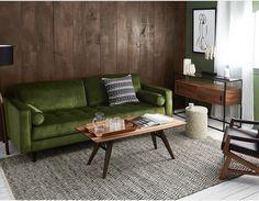 KINSEY - Velvet 3-seater sofa - Green