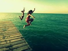 Jumping in the sea!