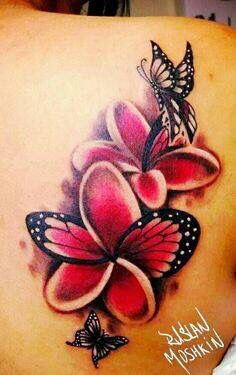 Plumeria flower tattoos with butterflies