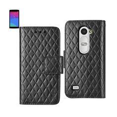 Reiko Wallet Case 3 In 1 For LG Leon/ LG H326 Rhombus Pattern Black Black