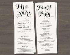 Wedding Programs, Printable Wedding Program, Wedding Program ...