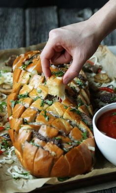 Philly Cheese Steak Sandwich Stuffed Italian Bread with Marinara Sauce @huntschef #phillycheesesteak #ItalianBread #StuffedBread