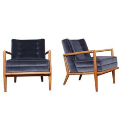 Pair of Lounge Chairs by T.H. Robsjohn-Gibbings | From a unique collection of antique and modern lounge chairs at https://www.1stdibs.com/furniture/seating/lounge-chairs/