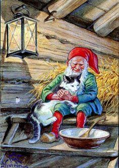 peintre illust jenny nystrom - Page 22 Swedish Christmas, Scandinavian Christmas, Christmas Cats, Mythological Creatures, Mythical Creatures, Illustrations, Graphic Illustration, Kobold, Elves And Fairies