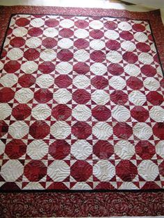 Quilt Hollow: Nicole's red/white snowball quilted by Quilt Hollow Patch Quilt, Quilt Blocks, Quilting Projects, Quilting Designs, Snowball Quilts, Sewing Machine Quilting, Two Color Quilts, Signature Quilts, Red And White Quilts