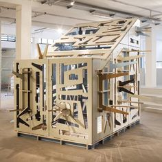 Made of CNC-cut ply, the structure is intended to create a small room within larger offices or public spaces.