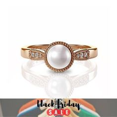Pearl Engagement Ring, pearl engagement ring #jewelry #ring @EtsyMktgTool http://etsy.me/2qA8DUe #ringrosegold #pearlweddingring #pearland