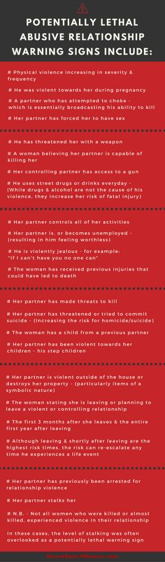 Relationship abuse & intimate partner homicide warning signs