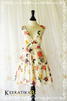 My Lady II Spring Summer Sundress Cottage Roses Floral Dress Creamy Sundress Floral Party Dress Tea Dress Floral Bridesmaid Dresses XS-XL