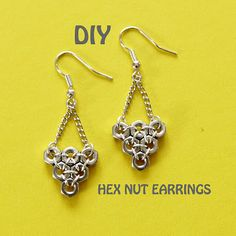 DIY Hex Nut Earrings by Leti #jewelryinspiration #cousincorp
