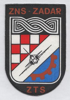 CROATIA ARMY - AIR FORCE - TECHNICAL SUPPORT- ZADAR  rare sleeve patch from 1992 #EXTREMELYRARESLEEVEPATCH