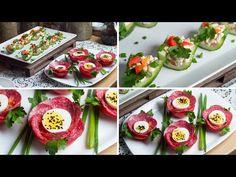 (103) Kwitnący pomidor i faszerowany ogórek - chrupiąca i smaczna przekąska na śniadanie - YouTube Food Decoration, Canapes, Antipasto, Party Snacks, Yummy Snacks, Food Design, Afternoon Tea, Cucumber, Sushi