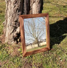 Vintage Look Rustic Farmhouse Mirror, Antique Style Shabby Chic Painted Pine Wood Mirror, Distressed Barn Wood Framed Brown Gray Red Mirror by EthelsBarn on Etsy